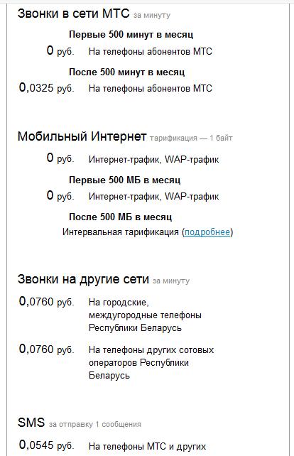 Информация о тарифе Смарт Мини